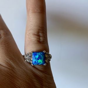 Vintage Sterling Silver Blue Fire Opal Ring